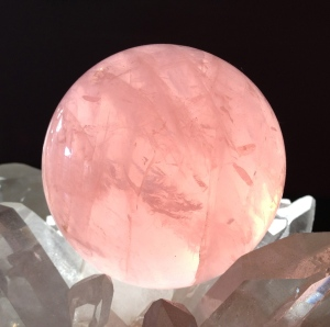 Rose Quartz sphere - the shape and polishing make its inner essence more accessible - than it would be were the chunk left rough