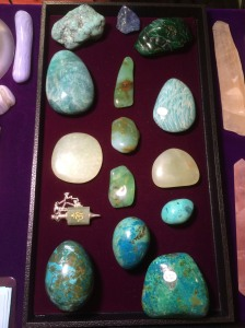 blues and greens - from Turquoise and Amazonite - to Crysoprase, Jade, and Chrysocolla
